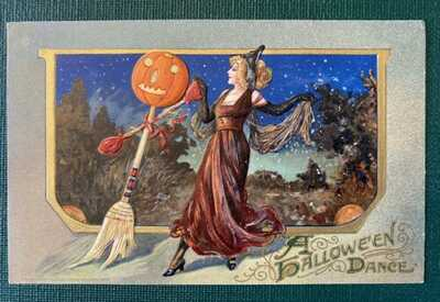 2 WINSCH HALLOWEEN POSTCARDS 1912, 1914, Antique, Witch, Jack-o-lantern, Glitter