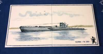 RARE German U-Boat U233 Delft Blue Painted Tile Presentation Piece to USS CARD