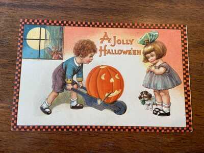 Original Vintage Halloween Winsch Freixas Postcard 11.1 A Jolly Hallowe'en