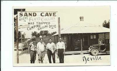 Real Photo Postcard Post Card Sand Cave Floyd Collins Trapped Camping Drive Inn