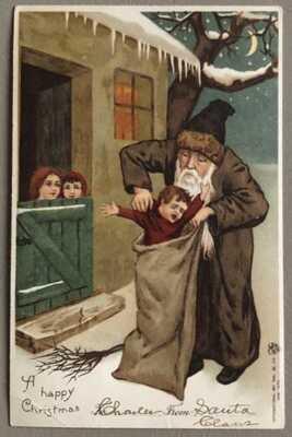 """Vintage 1905 """"A Happy Greetings"""" Brown Suited Santa Postcard"""