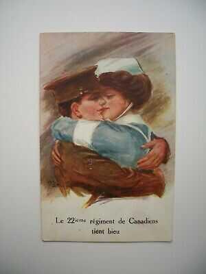 Postcard WWI CEF Le Royal 22e Regiment Tient la Ligne R22R Vandoos Quebec Canada