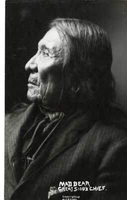 "F.B. FISKE Native American *INDIAN* Real RPPC POSTCARD #4 ""MAD BEAR"""