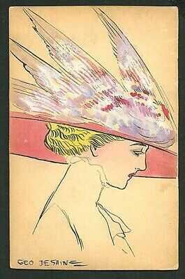 French 1910 ART NOVEAU Portrait HAND DRAWN Postcard WATERCOLOR ~ VASTA Archive