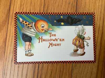 Halloween Winsch Frexias Hallowe'en Night Checkered Border postcard