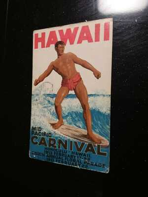 Mid Pacific Carnival  Original Surfing Postcard 1913 Very Cool and Rare!!