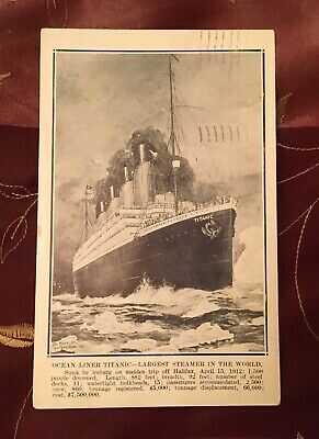 TITANIC POSTCARD APRIL 22, 1912 POSTMARK STAMP DISASTER MESSAGE WHITE STAR LINE
