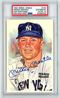 1981 Perez Steele Autographed PSA/DNA 10 Mickey Mantle #145 Signed HOF Postcard