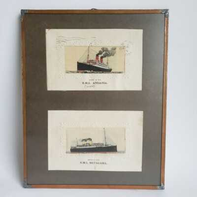 Antique RMS Metagama and RMS Andania Stevengraph Woven in Silk Postcards Framed