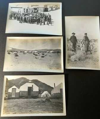 Real Photos, Mining men hunters, tents, town view crowd, Rhyolite Nevada NV 1909