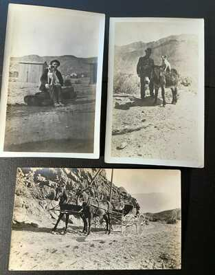 Real Photos, Mining man wagon horses, terrier on burro, Rhyolite Nevada NV 1909