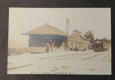 **1908 BUFFALO & SUSQUEHANNA RAILROAD BOSTON N.Y. DEPOT REAL PHOTO POST CARD***