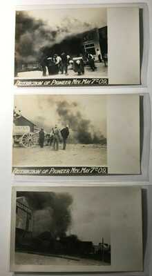 Destruction of Pioneer, Water Wagon Fire, Nevada NV May 1909 - 3 Real Photos