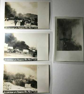 Destruction of Pioneer, Homes Fire Tents Lady Nevada NV May 1909 - 4 Real Photos