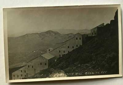 Homestake Mill, Rhyolite, Nevada, NV Mountainside Ghost Town, 1908 Real Photo nm
