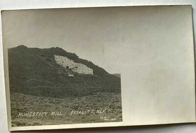 Homestake Mill, Looking up mountainside,Rhyolite, Nevada, NV, 1908 Real Photo nm