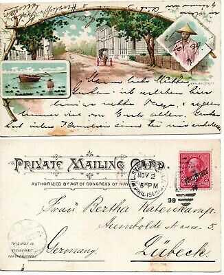 Philippines Manila Nozaleda Street scene old PPC 1899 mailed. US Territory