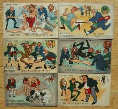 Masonic Postcards Are You a Mason, Set of 6, Did it ever Occur to you, Valentine