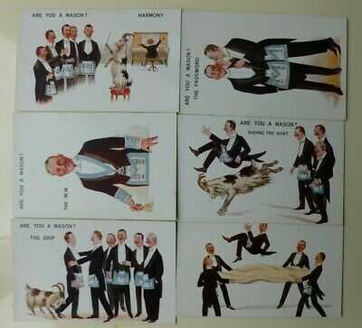 Masonic Postcards Are You a Mason, Series No's 3333,3334,3335,3339,3340 & 3341