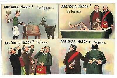 Masonic Postcards Are You a Mason, Set of 6, By Samuels Ltd, Strand, Regent St.