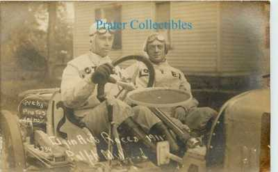 Elgin, IL 1911 Automobile Race, Driver Ralph Mulford, Car: Dozier Real Photo PC
