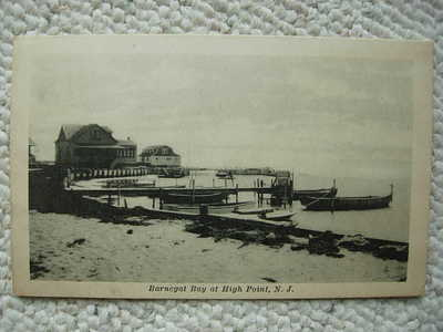 HIGH POINT NJ-BARNEGAT BAY-DOCK-BOATS-POSTED 1927-OCEAN COUNTY NEW JERSEY