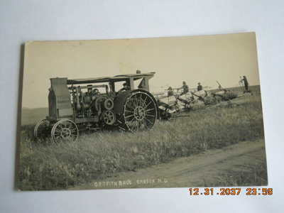 Old Postcard Of A Steam Engine Tractor-Griffith Bro's-Carson, North Dakota