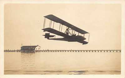 1914 RARE REAL PHOTO FLORIDA AVIATION FIRST FLIGHT in Air St Petersburg - Tampa