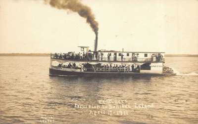 FL - 1900's Florida Uneeda Steamer Paddle Wheeler to Sanibel from Ft. Myers, Fla