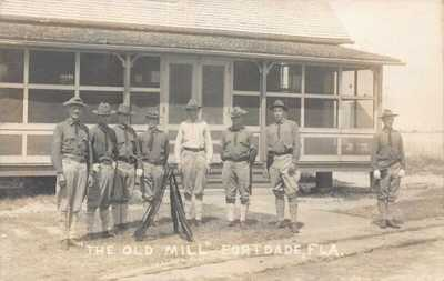 FL 1900's Florida The Old Mill Soldiers with Rifles Fort Dade, Fla - Egmont Ke