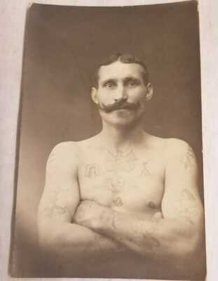 Antique Original RPPC Shirtless Tattooed Man Moustache Denmark Side Show Circus