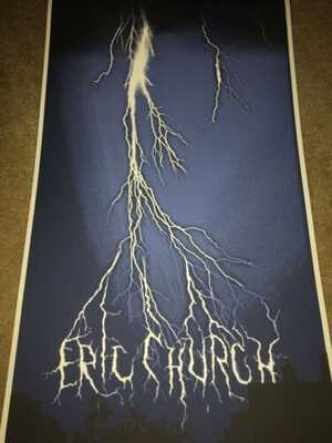 Eric Church Columbia, South Carolina Lightning Concert Poster! Signed By Artist!
