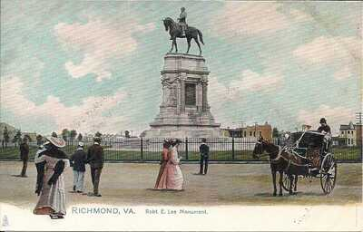Richmond VA, Confederate Robert E. Lee Monument, Tuck Pre-1907, Horse & Buggy