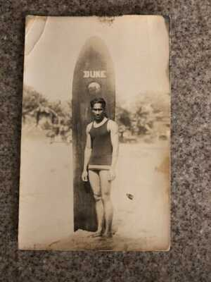 Rare Original 1915 Rppc Duke Kahanamoku Olympic Surfer Swimmer Surf Board Beach