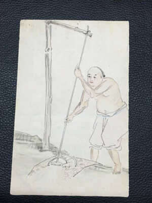 1900s CHINA IMPERIAL QING DRAWING WATER FROM A WELL HAND PAINTED POSTCARD