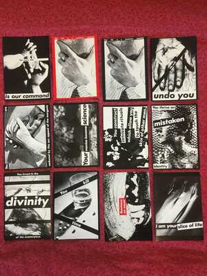 "BARBARA KRUGER Set of 12 Unposted Postcards 1981-1988, 6"" by 4.25"" Near Fine"