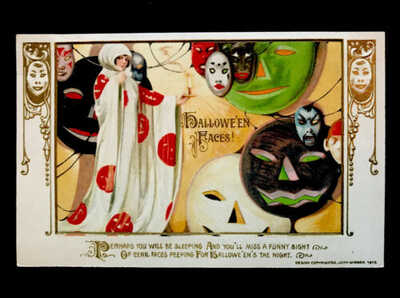 Halloween Postcard, Schmucker Mask Series Lady In Hooded White Robe, Many Masks