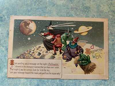 Halloween Postcard Witch on Broom Moon Saturn Earth from Space Weird Passengers