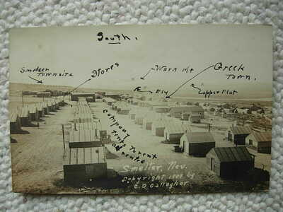RPPC-SMELTER NV-COMPANY TOWN-TENTS-C D GALLAGHER-ELY NEV-NEVADA-1909-REAL PHOTO
