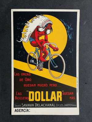 1900s DOLLAR BICYCLE FRENCH AD POSTCARD ORIGINAL ! MOTORCYCLE MANUF ! COLOR VF !