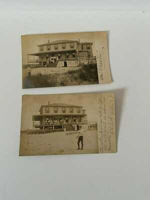 2 VINTAGE 1906 OF LEAMING HOUSE PROSPECT BEER BEACH HOUSE AVALON NJ REAL POSTCAR