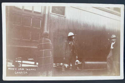 Mint USA RPPC Real Picture Postcard Native American Moose Jaw Indians Canada