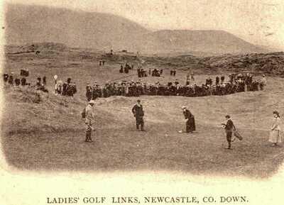 RARE & MINT NEWCASTLE CO. DOWN LADIES GOLF LINKS GOLFING VIGNETTE POSTCARD 1903