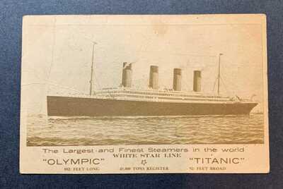 Olympic & Titanic White Star Line Postcard - postmarked April 11, 1912