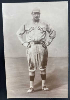 Mint USA Real Picture Postcard Babe Ruth Red Sox Baseball Player