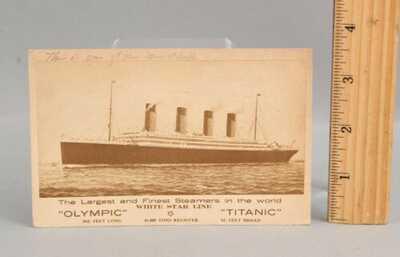 Antique 1911 White Star Line Titanic & Olympic Ocean Liner Postcard NO RESERVE