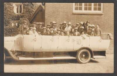 Postcard Lyndhurst New Forest Hampshire school treat Orchid charabanc 1926 RP