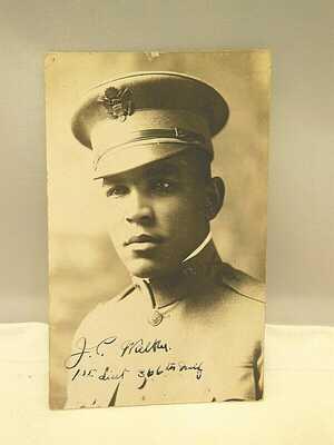 RPPC BLACK AMERICANA 1st LIEUTENANT MILITARY WW1 REAL PHOTO POSTCARD UNUSED