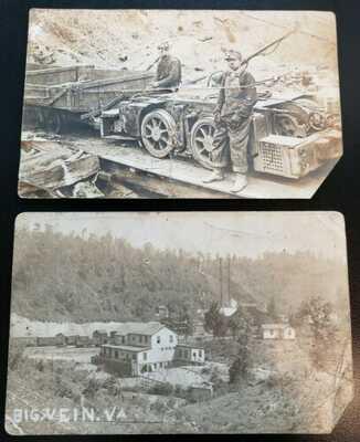 RPPC Postcards Big Vein VA Tazewell Co nr Bluefield WV Abandond Coal Mining Town