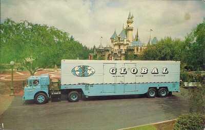 AMUSEMENT PARK, Disneyland, Moving Van Truck in Front of Magic Kingdom, 1960's
